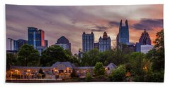 Bath Towel featuring the photograph Piedmont Park Midtown Atlanta Sunset Art by Reid Callaway
