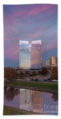 Pier 1 Building And The Trinity River, Downtown Ft. Worth Texas U S A Hand Towel