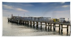 Pier At Sunset Hand Towel by John Williams