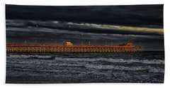 Hand Towel featuring the photograph Pier Into Darkness by Kelly Reber