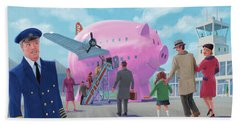 Pig Airline Airport Bath Towel by Martin Davey
