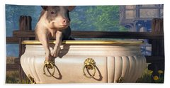 Pig In A Bathtub Hand Towel by Daniel Eskridge