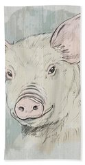 Pig Portrait-farm Animals Hand Towel