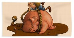 Pig Tales Hand Towel by Andy Catling