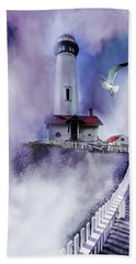 Pigeon Lighthouse With Fog Hand Towel