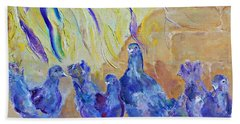 Bath Towel featuring the painting Pigeons by AmaS Art