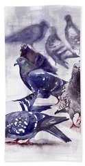 Pigeons Watercolor Hand Towel