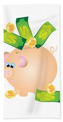 Piggy Bank With Bills And Coins Illustration Bath Towel
