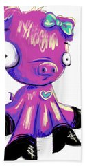 Hand Towel featuring the digital art Piggy  by Lizzy Love