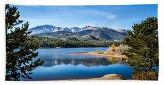Pikes Peak Over Crystal Lake Hand Towel