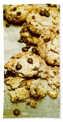 Pile Of Crumbled Chocolate Chip Cookies On Table Bath Towel