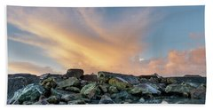 Piles Of Rocks And The Dawn Bath Towel by Greg Nyquist