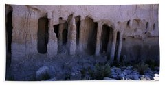 Pillars And Caves, Crowley Lake Bath Towel by Michael Courtney
