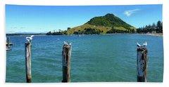 Pilot Bay Beach 3 - Mt Maunganui Tauranga New Zealand Hand Towel