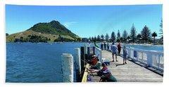 Pilot Bay Beach 8 - Mount Maunganui Tauranga New Zealand Hand Towel