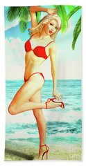 Pin-up Beach Blonde In Red Bikini Hand Towel
