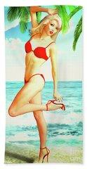 Pin-up Beach Blonde In Red Bikini Hand Towel