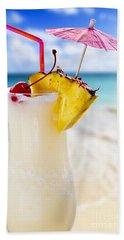 Pina Colada Cocktail On The Beach Bath Towel