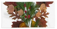 Hand Towel featuring the digital art Pine And Leaf Bouquet by Lise Winne