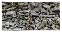 Pine Cone And Stones Hand Towel by Sumit Mehndiratta