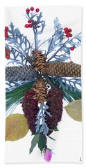 Hand Towel featuring the digital art Pine Cone Bouquet by Lise Winne