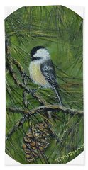 Pine Cone Chickadee Bath Towel by Kathleen McDermott