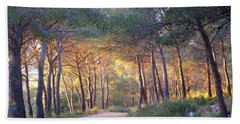 Pine Forest At Sunset Bath Towel