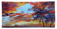 Bath Towel featuring the painting Pine Island Sunset by Lou Ann Bagnall