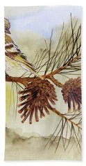 Bath Towel featuring the painting Pine Siskin Among The Pinecones by Thom Glace