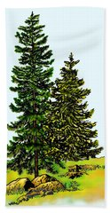 Pine Tree Nature Watercolor Ink Image 2b        Bath Towel