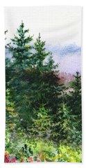 Pine Trees And Meadow  Bath Towel
