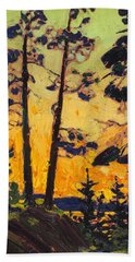 Pine Trees At Sunset Hand Towel
