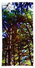 Pine Trees In Abstract 1 Bath Towel