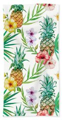 Pineapple And Tropical Flowers Hand Towel by Vitor Costa