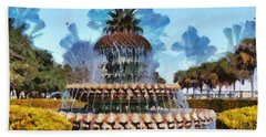 Pineapple Fountain Hand Towel by Lynne Jenkins