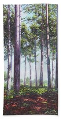 Bath Towel featuring the painting Pines In New Forest Shade by Martin Davey