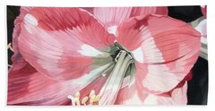 Bath Towel featuring the painting Pink Amaryllis by Laurie Rohner