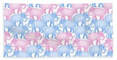 Pink And Blue Elephant Pattern Hand Towel by Antique Images