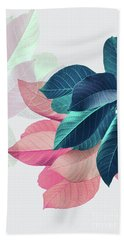 Pink And Blue Leaves Bath Towel