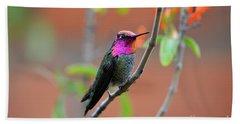 Pink And Gold Anna's Hummingbird Hand Towel
