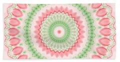 Pink And Green Mandala Fractal 003 Bath Towel