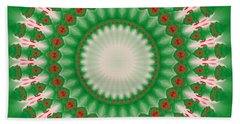 Pink And Green Mandala Fractal 005 Bath Towel