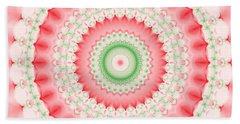 Pink And Green Mandala Fractal Bath Towel