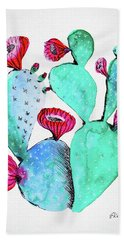 Pink And Teal Cactus Bath Towel