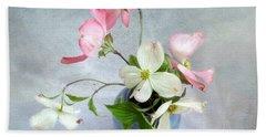 Pink And White Dogwood Still Bath Towel by Louise Kumpf