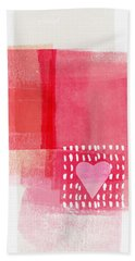 Pink And White Minimal Heart- Art By Linda Woods Hand Towel