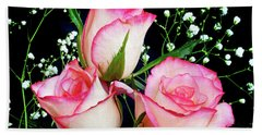 Pink And White Roses Hand Towel