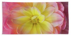 Bath Towel featuring the photograph Pink And Yellow Dahlia by Mary Jo Allen