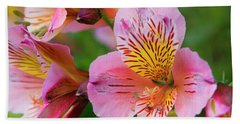 Pink And Yellow Flora Hand Towel