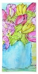 Pink And Yellow Tulips Bath Towel